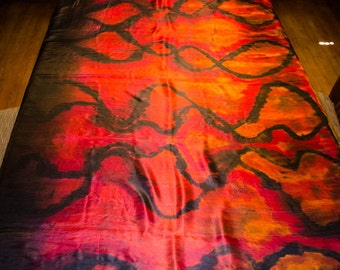 Belly Dance Silk Veil Hand Painted Red Orange Black Flame