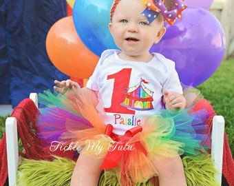 Under the Big Top Rainbow Circus Tent Birthday Number Carnival Themed Birthday Tutu Outfit-Carnival Party Outfit *Bow NOT Included*