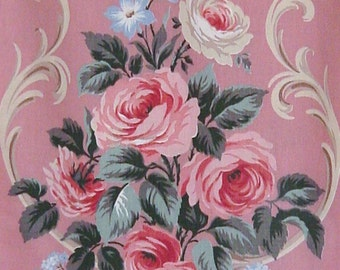 Vintage Pink Barkcloth Era Roses Curtain Upholstery Fabric 40 Yards Available Pink Cabbage Roses 45 x 24
