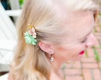 Wedding Hair Comb Coral Mint Bridal Headpiece Jade Green Peach Orange Flower Hair Clip Bridesmaid Gift Hair Pin Pastel Hair Adornment