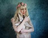 Pale pink mini peony hairband,  summer flower crown, rose headband