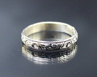 Rococo ring--Thin Sterling Silver Swirl Patterned Wedding Bands Stacking Rings--Made in your size