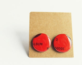red stud earrings red post earrings red studs large studs statement jewelry music jewelry funky earrings unique handmade jewelry gift idea