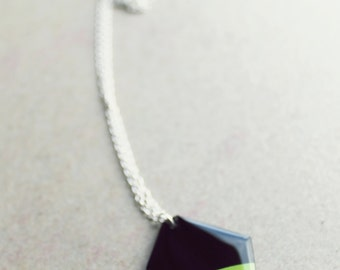 geometric necklace vinyl record pendant necklace green pendant recycled jewelry funky jewellery geometric jewelry resin jewelry gift idea