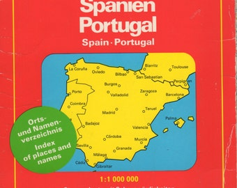 1985 Hallwag Map of Spain and Portugal