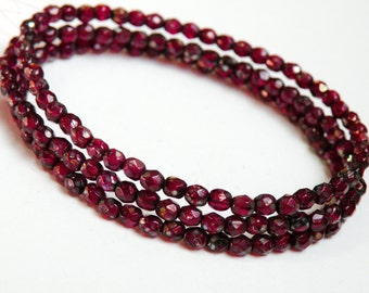 Rich Garnet Red Picasso finish fire polished Czech glass faceted round beads 4mm half strand NFP4-35