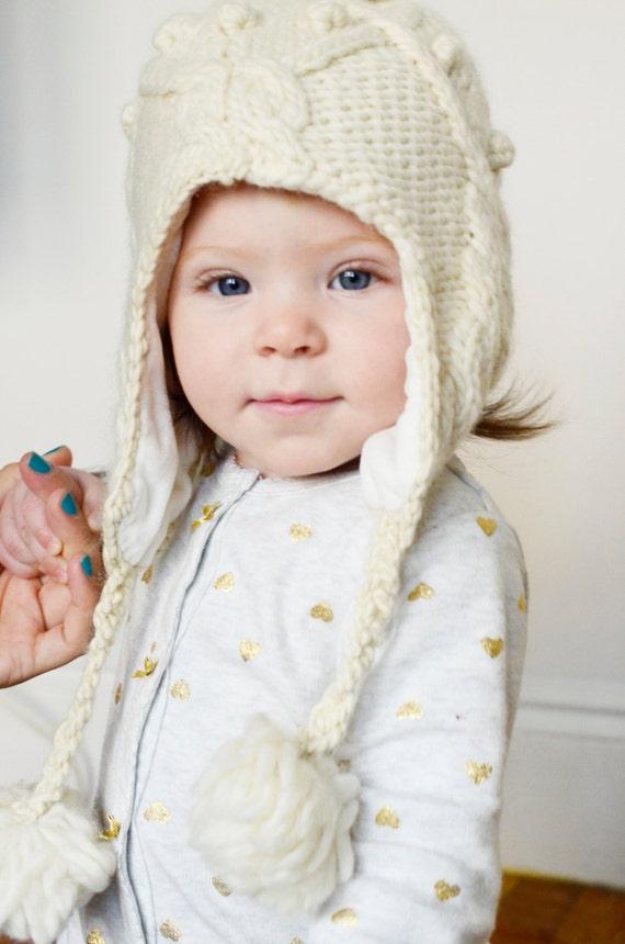 Beanie babies, Knit Wool Hat Autumn Oatmeal, Pom Pom Ear warmers, Ecru Undyed Merino Winter Autumn Beanie, Bobble hat pompom, kids gift