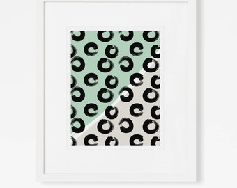 Modern Graphic Wall Art - Geometric Brush Stroke Artwork - Abstract Mint Art Print - 5x7, 8x10, 11x14 Digital Painting
