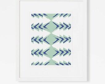Minimalist Modern Art Blue / Minimalist Geometric Art Print / Large Vertical Wall Art / 5x7 8x10 11x14 16x20 18x24 / Framed and Matted