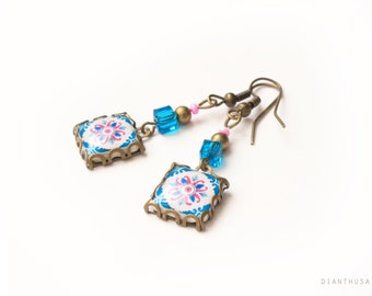 Portuguese pattern tile earrings.  Turquaoise, blue marine and fuchsia. Hydraulic tiles