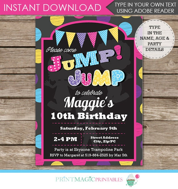 Trampoline Party Invitations: Trampoline Birthday Party Invitation Jump Invitation