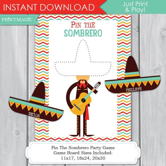Pin The Sombero Fiesta Printable Party Game 3 Sizes Cinco