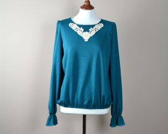 Teal long sleeve tshirt, Jersey top, Green tshirt, Long sleeve shirt, Women's clothes, Long sleeve top, Winter top,