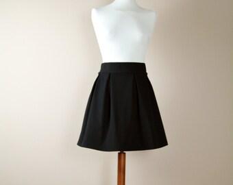 Black skirt, high waisted skirt, gothic skirt, pleated skirt, cotton skirt, aline skirt, womens clothing, mini skirt, womens skirts
