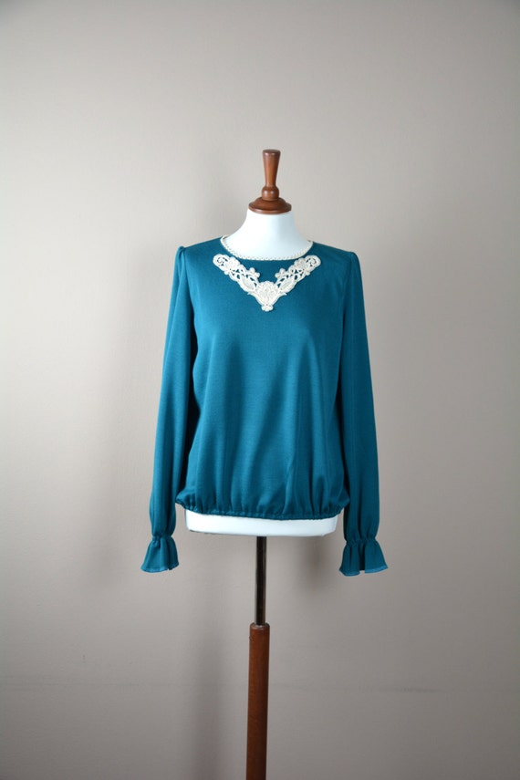 Teal long sleeve tshirt, Jersey top, Green tshirt, Long sleeve shirt, Women's clothes, Long sleeve top, Winter top,