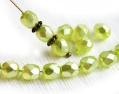 6mm Yellow green beads, Czech glass, faux pearls coating, Light green pearls, fire polished, round faceted beads - 30Pc - 1140