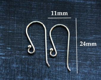 10pc Sterling silver French Earwires, Ball end earwires, long hooks, 21Ga wire, for jewelry making - 5pairs - F326