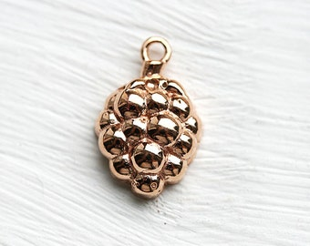 Raspberry charm, Rose gold raspberry pendant, gold coating over 925 silver, 15mm - 1pc - F365