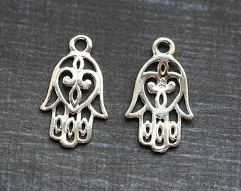 Hamsa charm, Sterling Silver Hamsa hand boho charms, Kabbalah, Hand of Fatima, 925 silver - 20mm - 1pc - F370