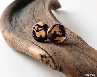 Purple Earrings, Post Earrings, Polymer Clay Earrings, Gold Leaf Earrings, Violet Post Earrings, Polymer Clay Jewelry, Petite Earrings