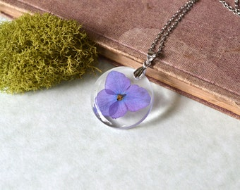 Purple Hydrangea Pressed Flower Resin Pendant