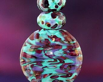 Festive Swirl Handmade Lampworked Glass Beads OOAK Celadon Green Purple Gold Sparkle Set of Three Lentil Rondelles Lampwork