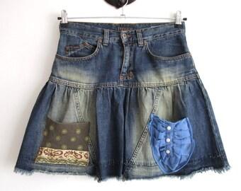 Denim skirt,Denim Skirt with  pockets,recycled denim skirt,cotton skirt,blue jeans clothing,size medium,bohemian clothing,denim mini skirt.