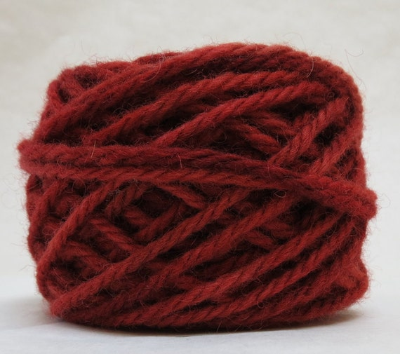 CHERRY, 100% Wool, 2 ozs. 43 yards, 4-Ply Bulky weight and 3-ply Worsted weight yarn, already wound into cakes, ready to use, made to order.
