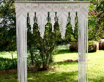 Macrame Arch - 6' x 8' Natural White Cotton Rope on Wooden Dowel - Wedding Backdrop, Baby Shower, Special Event, Party - Boho Chic Decor