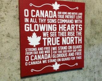 O Canada Custom Painted Wood Sign Ready To Hang O Canada Lyric Sign