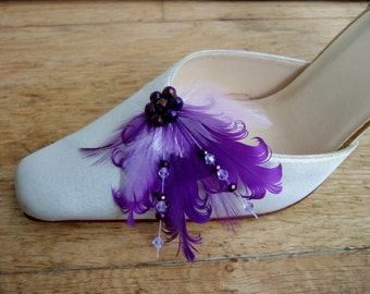 "Bridal Purple Lilac Feather Swarovski Crystals Shoe Clips / Bag Clips ""Daisy May"" (Pair) Mother of the Bride Accessories Ultra Violet"