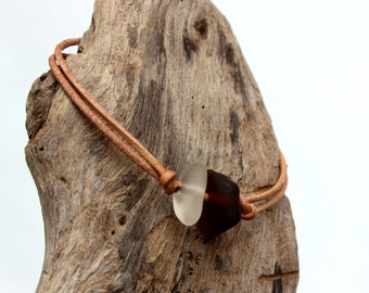 Hawaiian Amber Brown Beach Glass and Clear Beach Glass on India Leather Cord Completely Adjustable & Stackable Bracelet