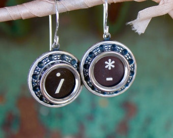 Typewriter key earrings, vintage, antique, jewelry, steampunk, up cycled, recycled, button, retro