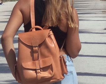 Large leather backpack / Women/Men natural (tan) backpack