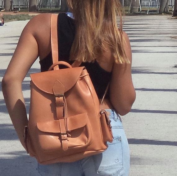 Large leather backpack / Women/Men natural (tan) backpack