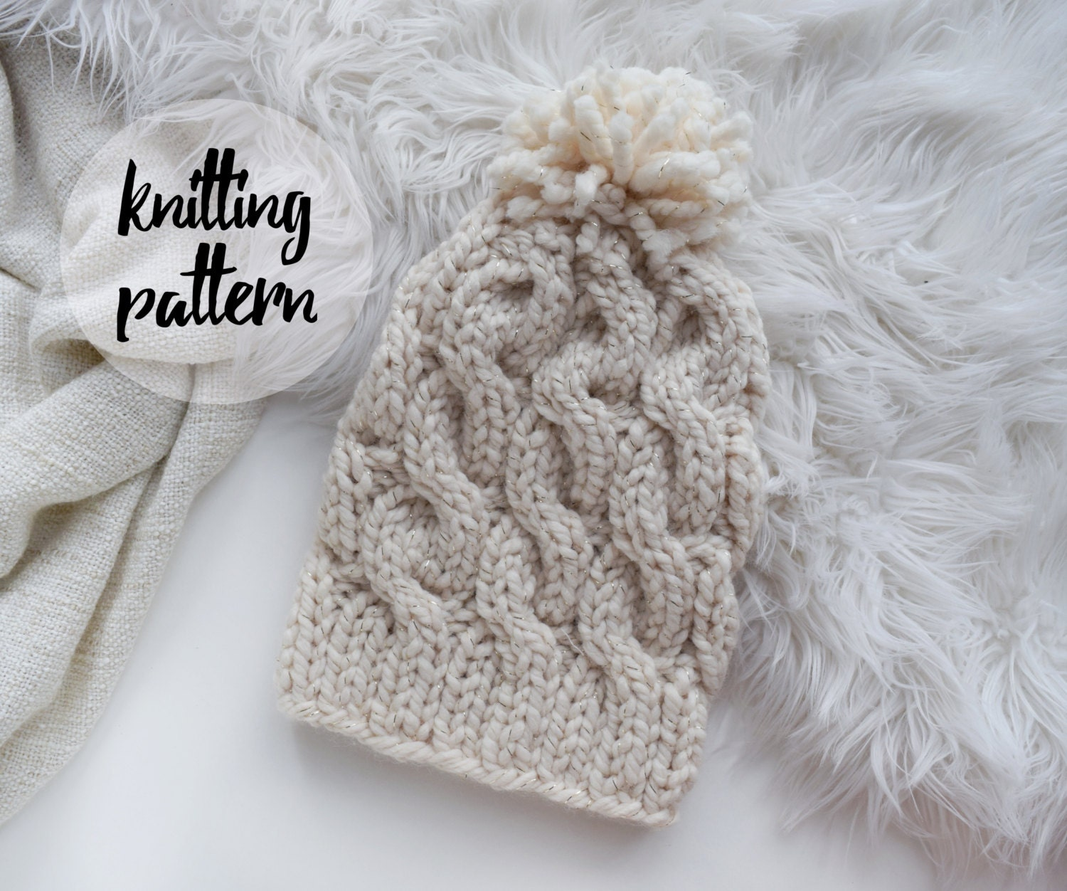 Cable Beanie Knitting Pattern Chunky Twist by KnittingWonders