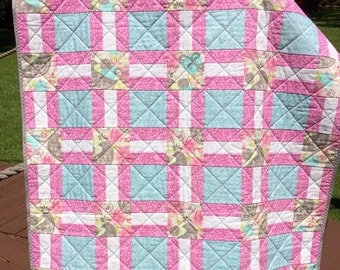 "Pink, Gray, Aqua, Lime and More, Altogether In This Very Feminine 40"" X 49"" Quilt"