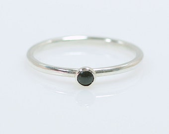 Black Onyx Ring - Stackable Sterling Silver Tiny Black Onyx Ring