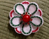 Christmas hair clip, flower red green and white with sparkly button. Hand embroidered, unique girls hair clip