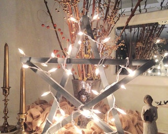 """Wooden Star Christmas - 18"""" Lighted Rustic Star - Holiday Decor - Wall Decor  Home Farmhouse Decoration - Wood Star with Lights"""