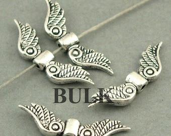 Angel Wings Beads BULK order Antique Silver 60pcs zinc alloy beads 7X23mm BD0013S