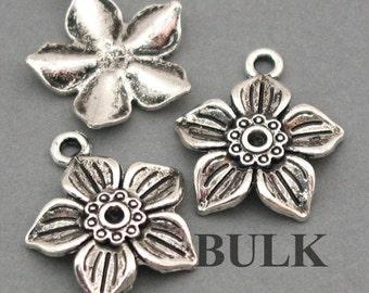 Flower Charms BULK order Antique Silver 30pcs pendant beads 19X22mm CM0015S
