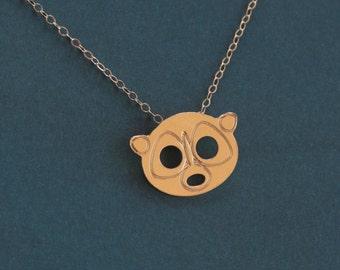 Raccoon Necklace , Gold Raccoon Jewelry