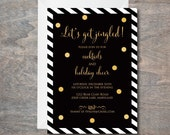 Black and Gold Holiday Cocktail Party Invitation, let's get jingled, PDF, Printable, Christmas Party Invite, Christmas Party Invitation