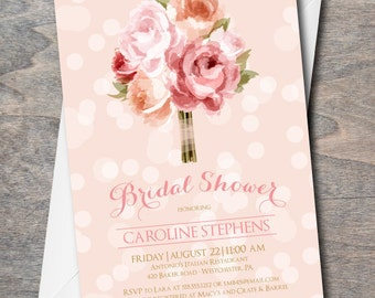 Bridal Shower Invitation, floral bridal shower invite, bridal invitation, pink, floral, DIY, Printable, bridal luncheon invitation