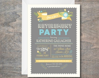 Retirement Party invitation, Yellow and Grey, Bridal Shower Invitation, Floral Invitation, printable, DIY, Bridal Luncheon Invite