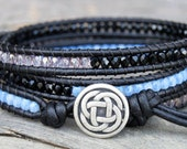 Triple Wrap Bracelet Blue Opal Jet Black Pink Sapphire Beads Black Leather Bohemian Jewelry Celtic Knot Button