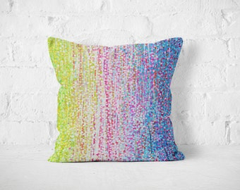 Green and Lilac Hydrangeas Throw Pillow - Green Pink & Purple Decorative Pillow Designed by Louise Mead Available Two Sizes