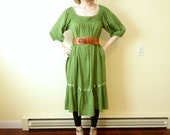 Vintage Day of the Dead Light Airy Grass Green Crocheted 100% Cotton Mexican Fiesta Billowy Tent Gauze Dress Peasant