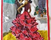 Reserved - Vintage 50s Spanish Flamenco Dancers Spain Souvenir Cotton Linen Tea Towel